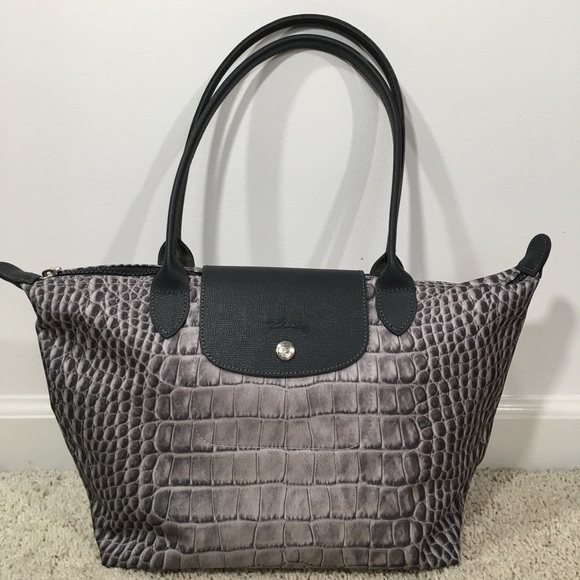 8e4dc37b81c Longchamp Bags | Nwot Medium Le Pliage Croc Print Tote | Poshmark